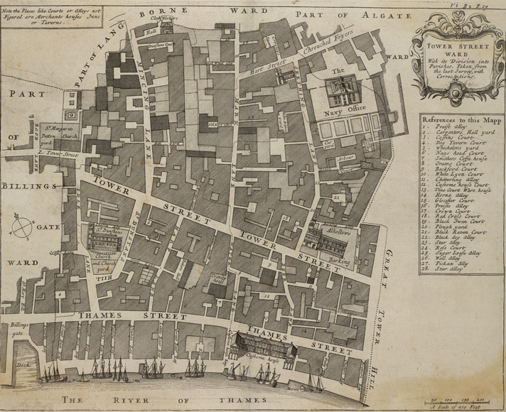 Tower Street ward with its division into parishes, taken from the last survey, with corrections (1720)